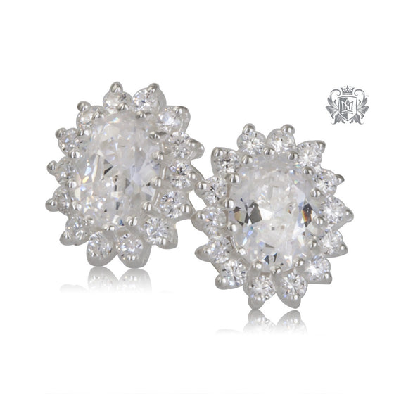 Oval Classic Cubic Cluster Stud Earrings