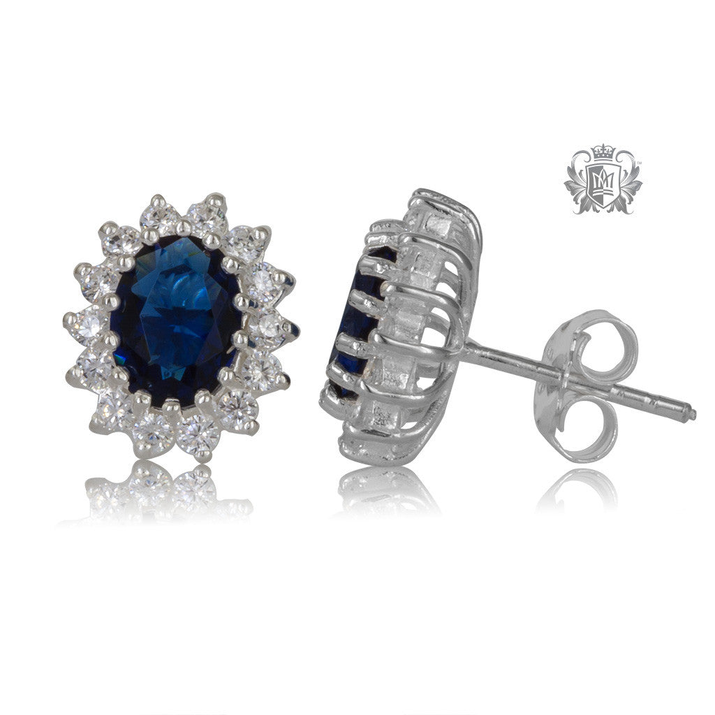 Oval Sapphire Blue Cubic Cluster Stud Earrings - Side View