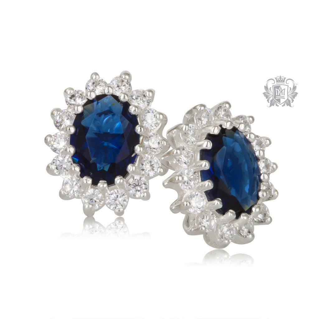 Oval Sapphire Blue Cubic Cluster Stud Earrings