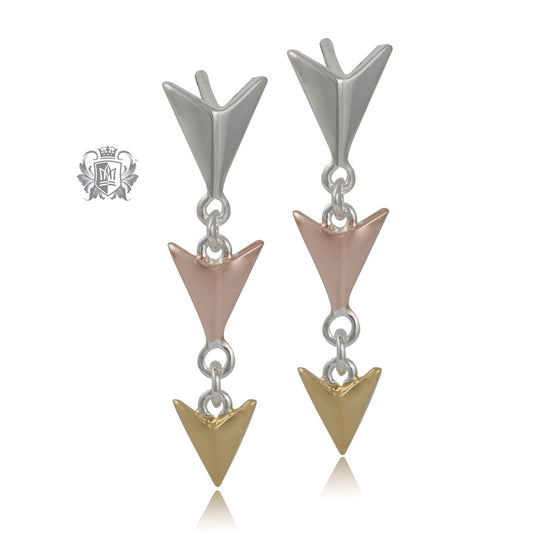 Articulated Triple Arrow Earrings