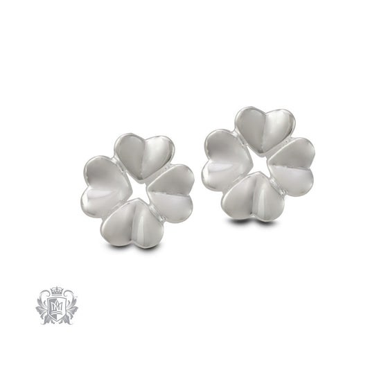 Four Leaf Clover Silver Earrings - front