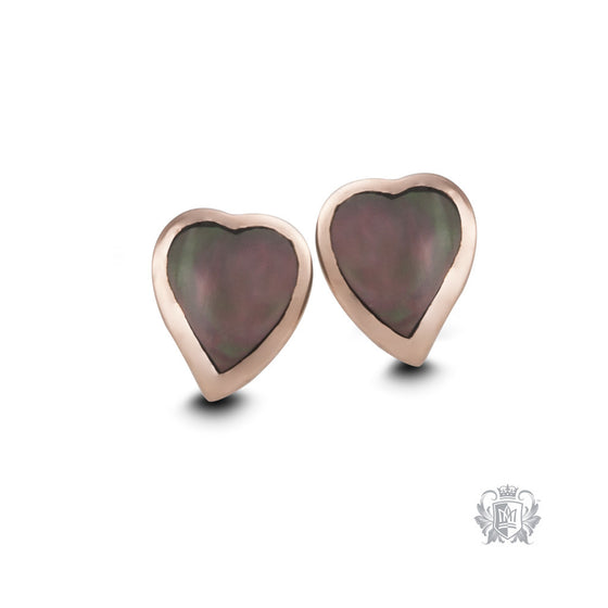 Rose Gold Dipped Mother of Pearl Heart Earrings - front