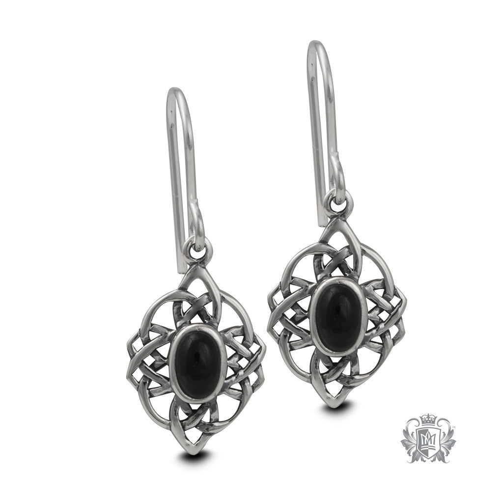Black Onyx Sterling Silver Earrings - front
