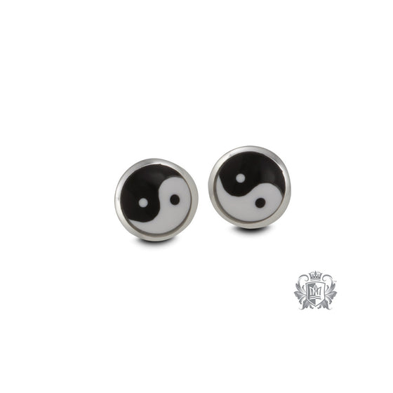 Sterling Silver Yin Yang Stud Earrings - front