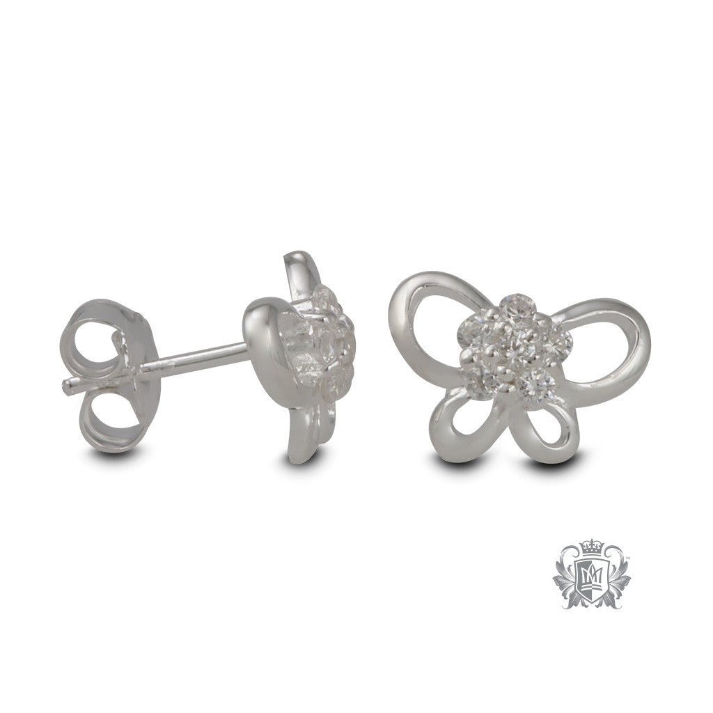 Sterling Silver Butterfly Stud Earrings - side