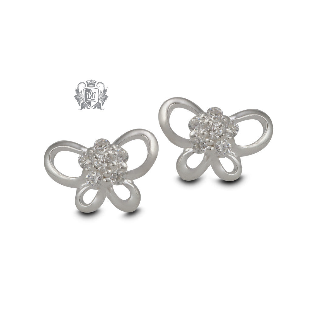 Sterling Silver Butterfly Stud Earrings - front