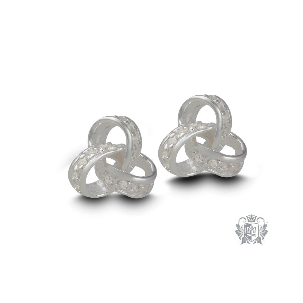 Endless Knot Cubic Studs - front