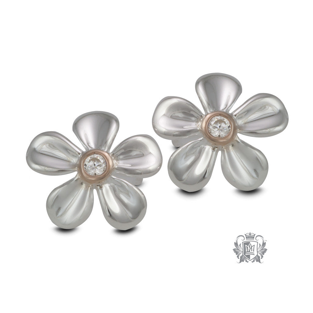 Dazzling Daisy Earrings with Rose Gold Accent - front