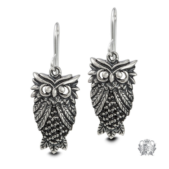 Marcasite Sterling Silver Owl Hanger Earrings