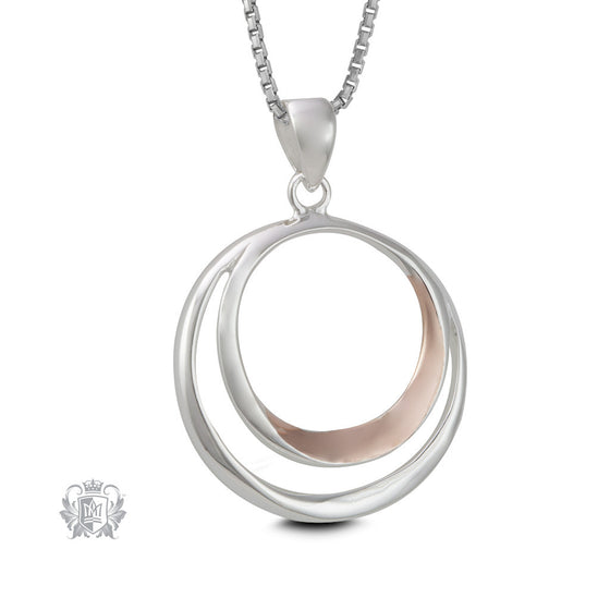 Double Loop Pendant with Rose Gold