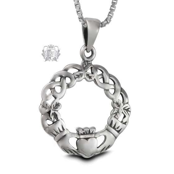 Sterling Silver Claddagh Wreath Pendant