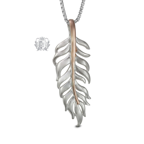 Fine Feather Pendant Necklace Sterling Silver Rose Gold