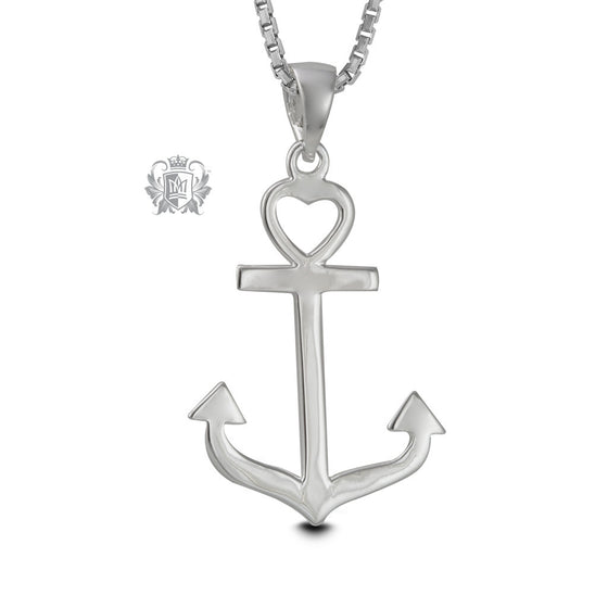 Sterling Silver Heart Anchor Pendant