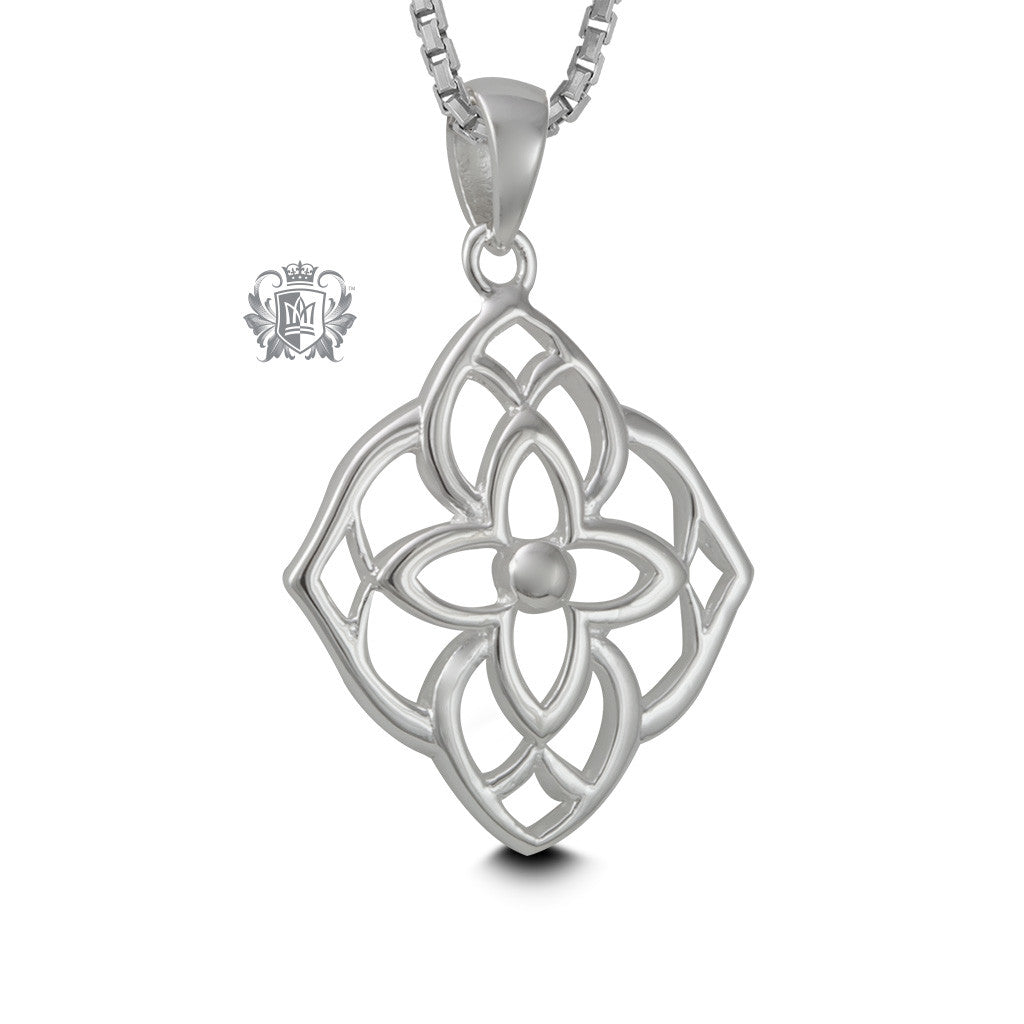 Sterling Silver Floral Scroll Pendant