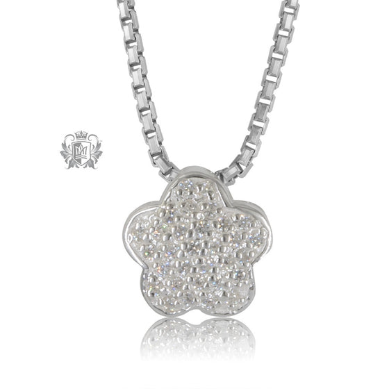 Metalsmiths Sterling Silver Pave Flower Slider Pendant