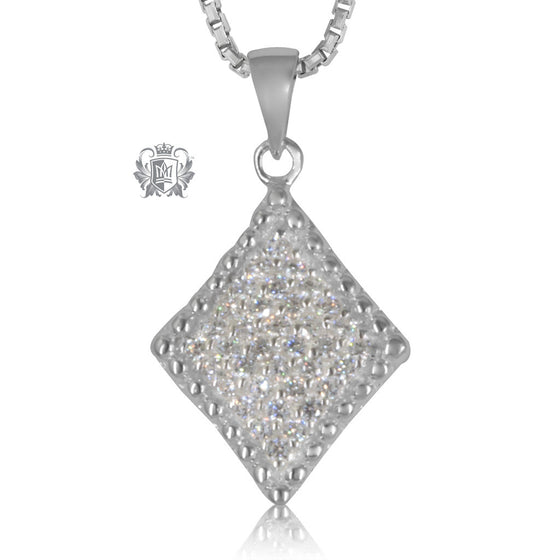 Metalsmiths Sterling Silver Pave Diamond Shaped Slider Pendant