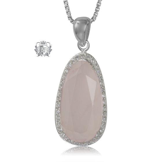 Rose Quartz Drop Pendant Sterling Silver Necklace