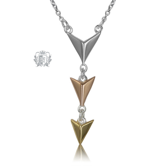 Metalsmiths Sterling Silver Articulated Triple Arrow Necklace