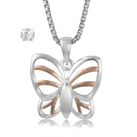 Metalsmiths Sterling Silver Rose Gold Dipped Butterfly Pendant