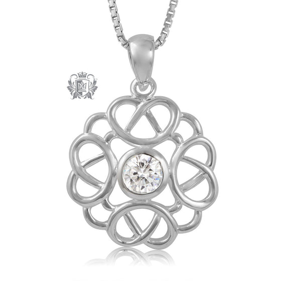 Metalsmiths Sterling Silver Large Celtic Knot Sparkling Pendant