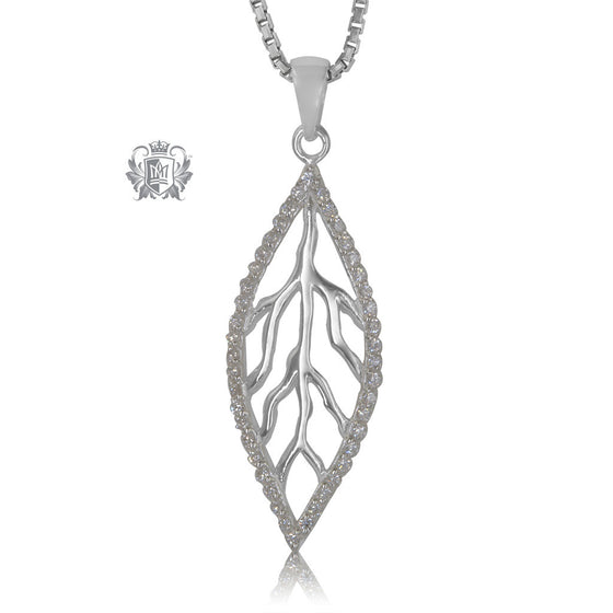 Metalsmiths Sterling Silver Sleek Sparkling Leaf Pendant