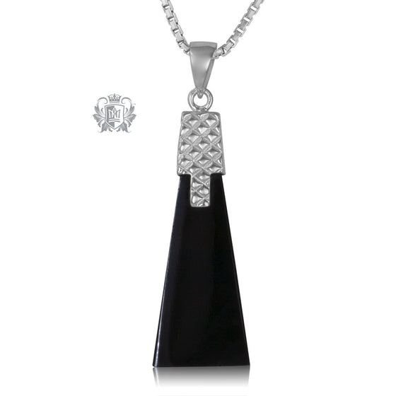 Sterling Silver Necklace Black Onyx Deco Pendant