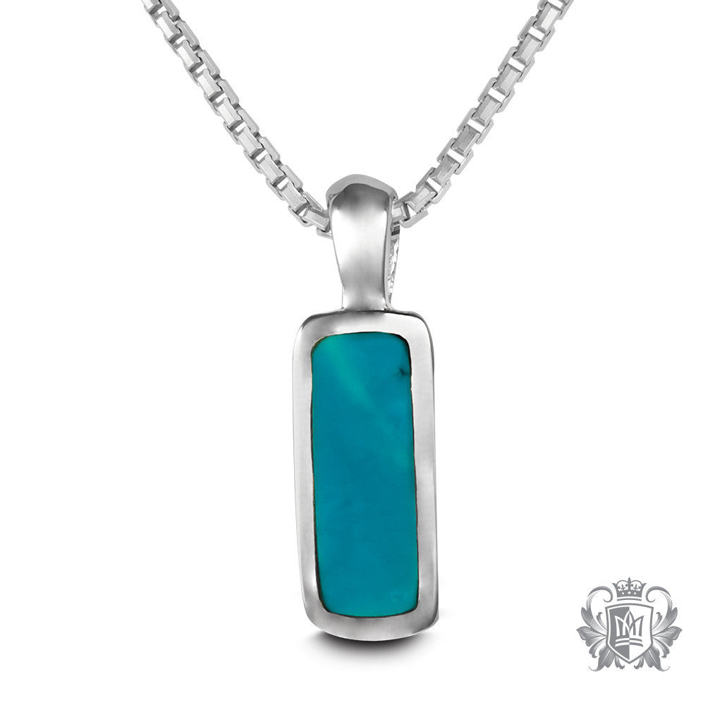 Medium Rectangle Pendant - Turquoise / 18 inch chain Gemstone Pendants - 1