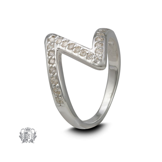 Zigzag Cubic Sterling Silver Ring