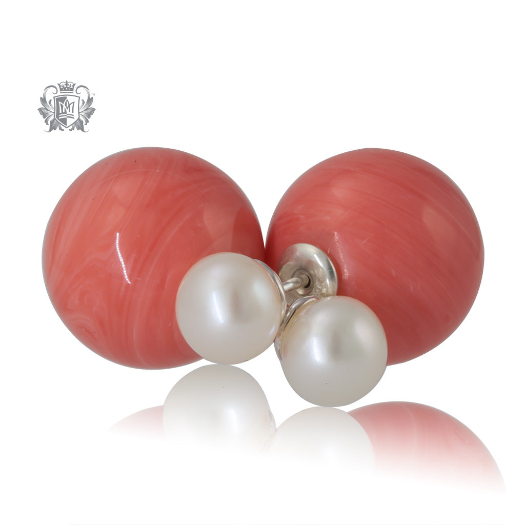 Double Stud Earrings - Pink Agate & Freshwater Pearl