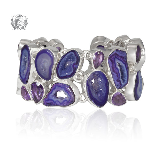 Amethyst Agate Double Row Bracelet Sterling Silver One Of A Kind