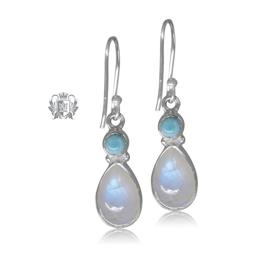 Larimar & Moonstone Teardrop Hangers Metalsmiths Sterling Silver One of A Kind