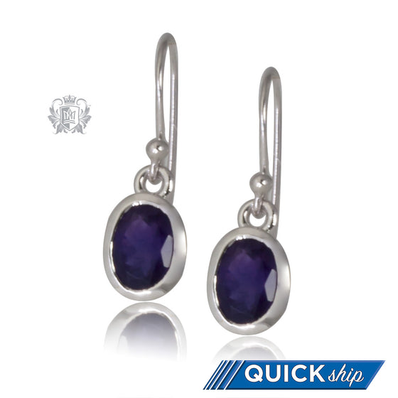 Amethyst Checker Cut Oval Hangers Quick Ship