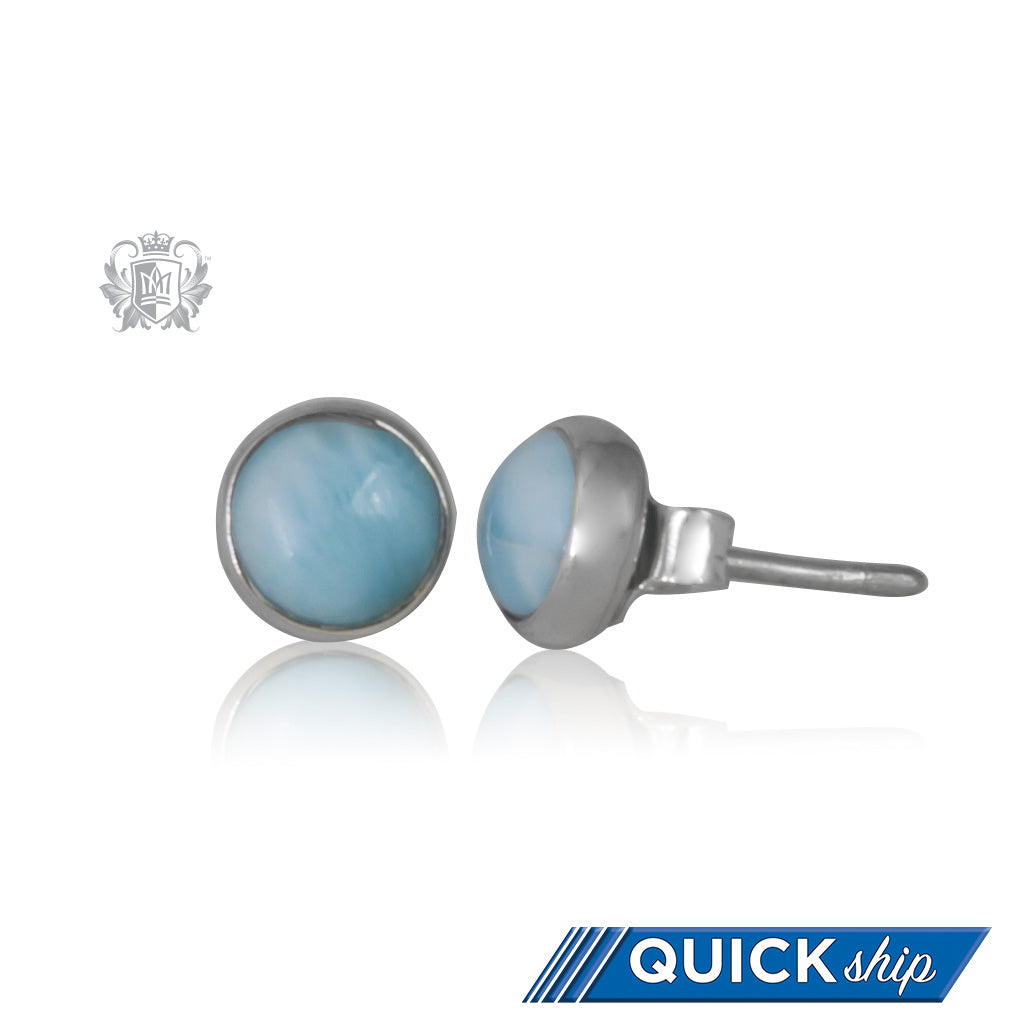 Larimar Round Stud Earrings - Quick Ship