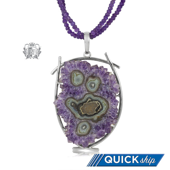 Amethyst Agate Statement Necklace Quick Ship