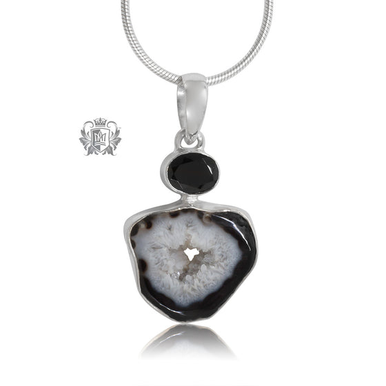Black Spinel & Black Agate Pendant Metalsmiths Sterling Silver One of A Kind