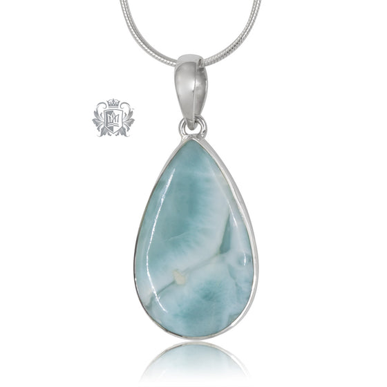 Large Larimar Pear Pendant Sterling Silver One of a Kind