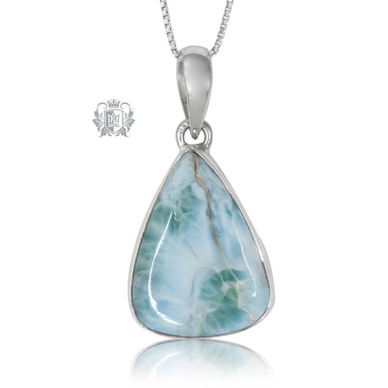 Freeform Larimar Pendant One of A Kind Sterling Silver