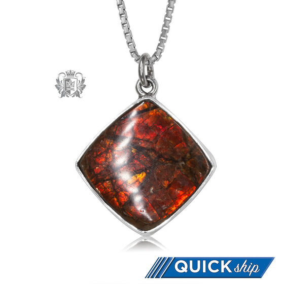 Offset Square Ammolite Pendant Metalsmiths Sterling Silver