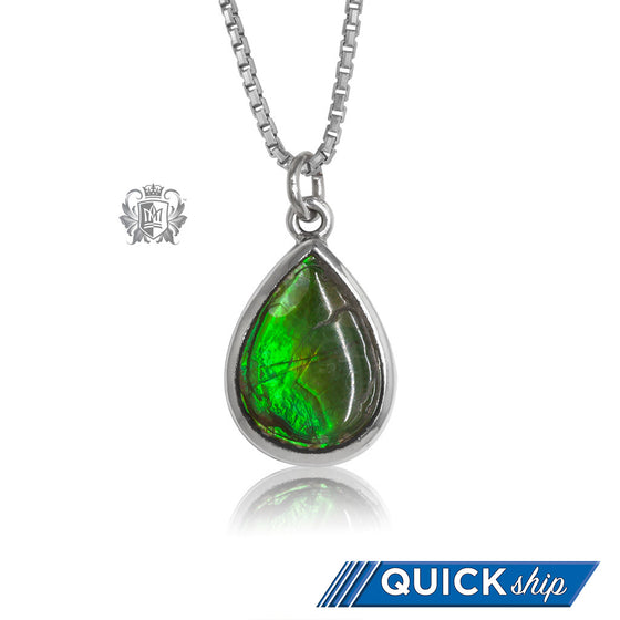 Teardrop Ammolite Pendant Metalsmiths Sterling Silver Quick Ship
