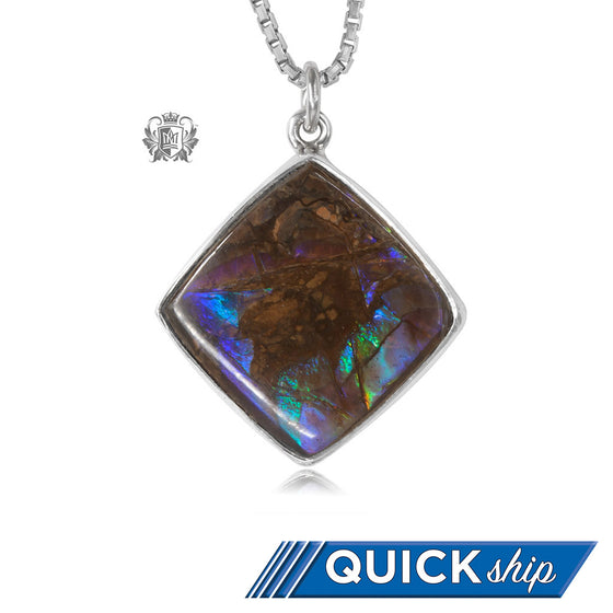 Offset Square Ammolite Pendant Metalsmiths Sterling Silver Quick Ship