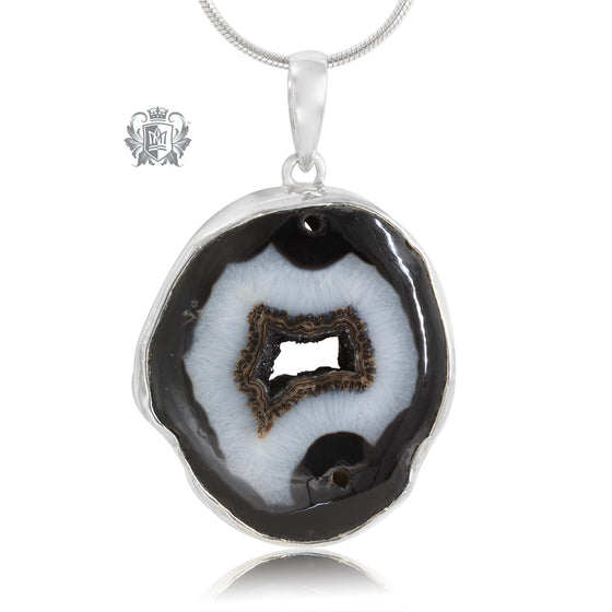 Large Black Agate Pendant Metalsmiths Sterling Silver One of A Kind