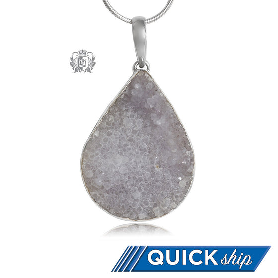 Oversized Teardrop Druzy Pendant Metalsmith Sterling Silver Quick Ship