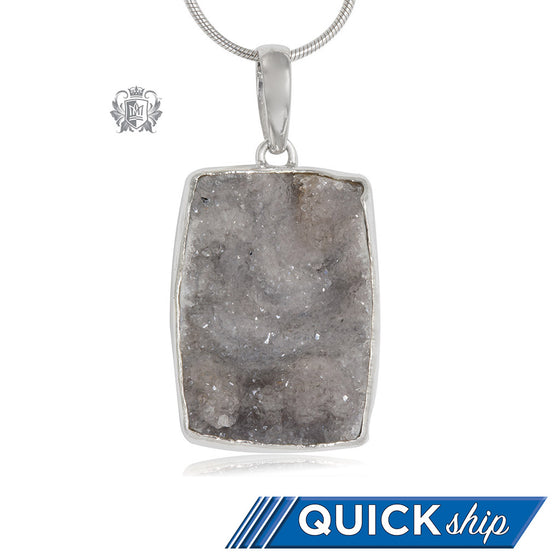 Oversized Rectangular Druzy Pendant Metalsmiths Sterling Silver Quick Ship