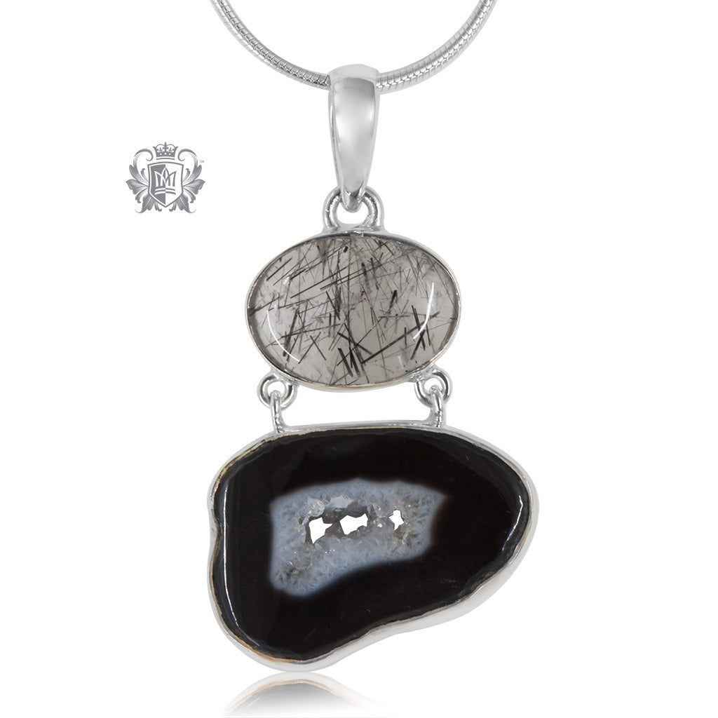 Black Agate & Rutilated Quartz Pendant