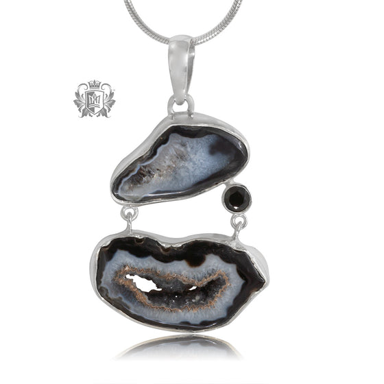 Black Agate Double Pendant Metalsmiths Sterling Silver One of A Kind