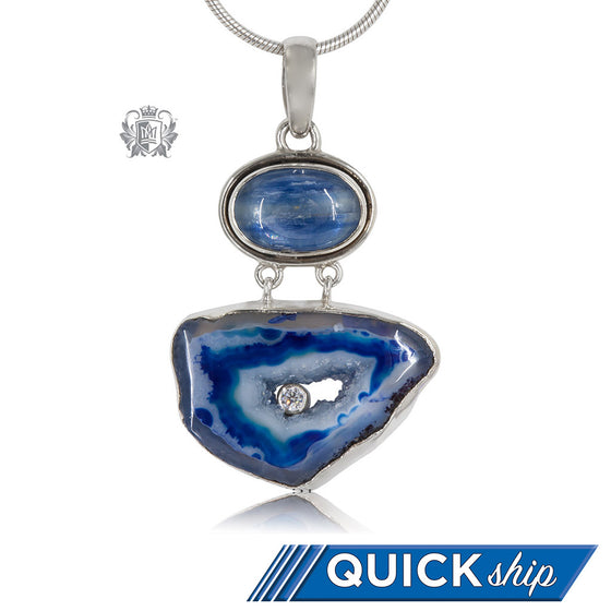 Double Denim Agate Pendant Metalsmiths Sterling Silver Quick Ship