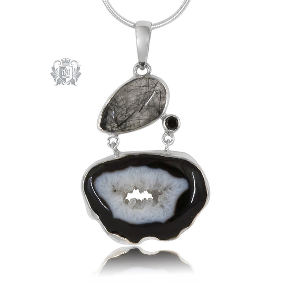 Rutilated Quartz, Black Spinel & Black Agate Pendant
