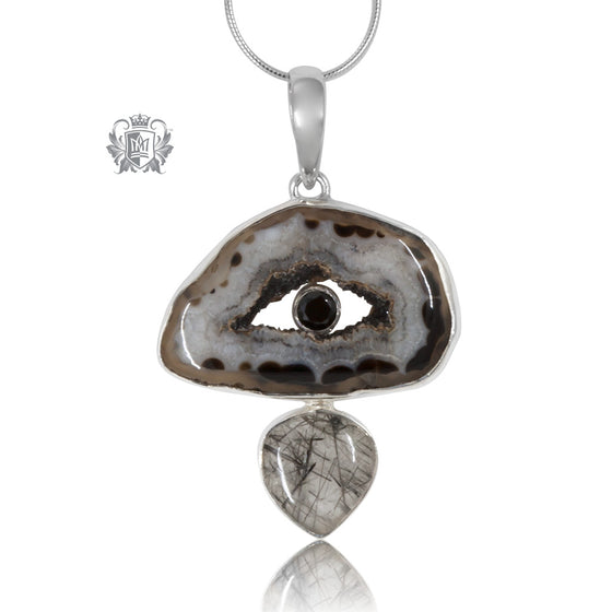 Rutilated Quartz, Black Spinel & Black Agate Pendant Sterling Silver Made to Order