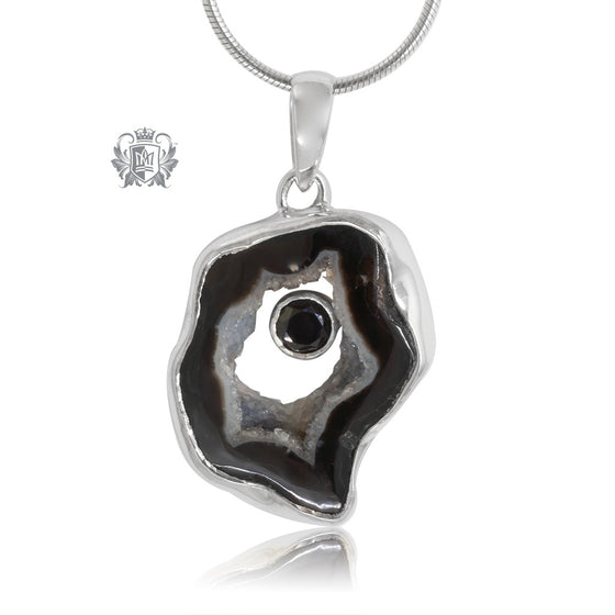 Black Agate & Black Spinel Pendant Metalsmiths Sterling Silver One of A Kind
