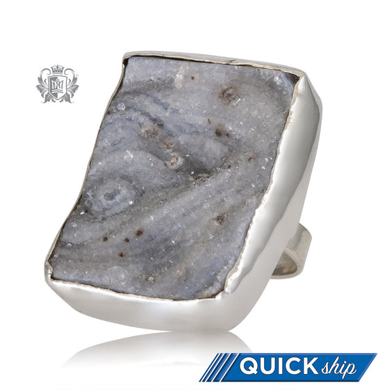Oversized Rectangular Druzy Ring Metalsmiths Sterling Silver Quick Ship